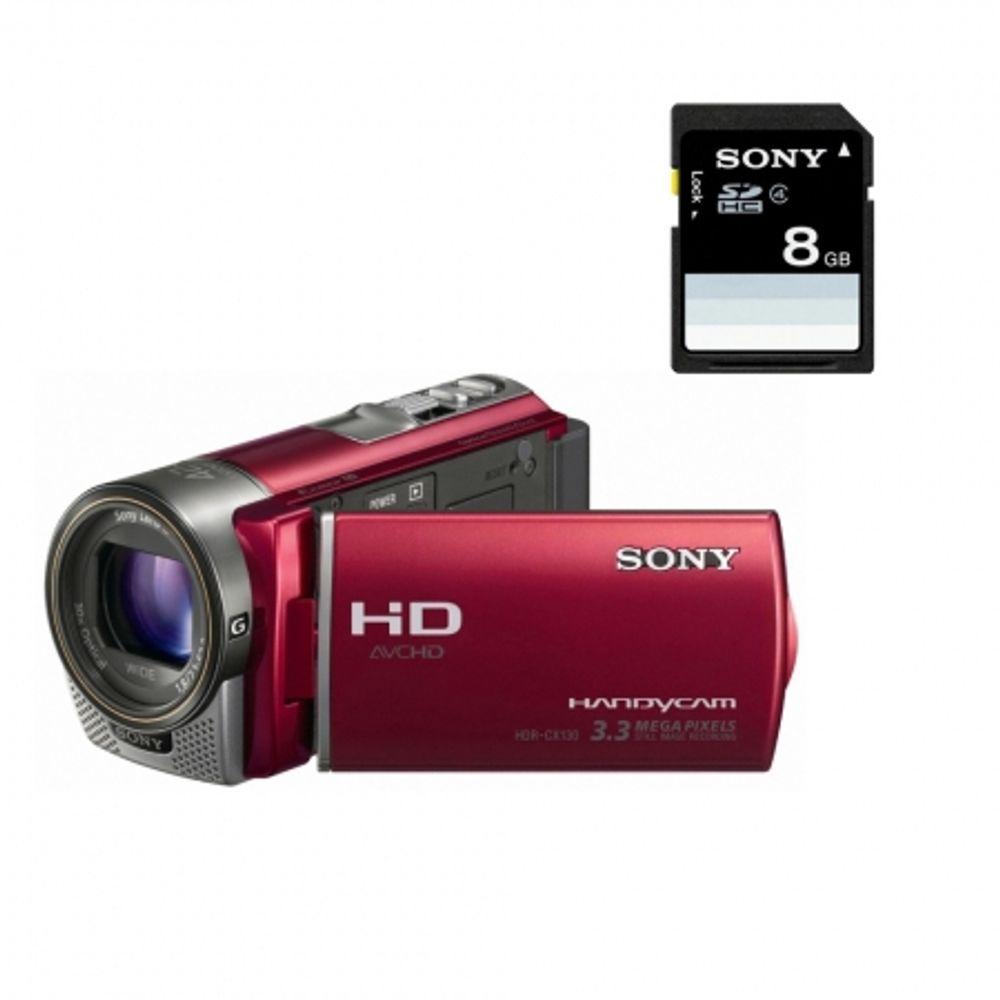 sony-handycam-hdr-cx130r-card-sd-8gb-camera-video-full-hd-obiectiv-g-zoom-30x-rosie-20313
