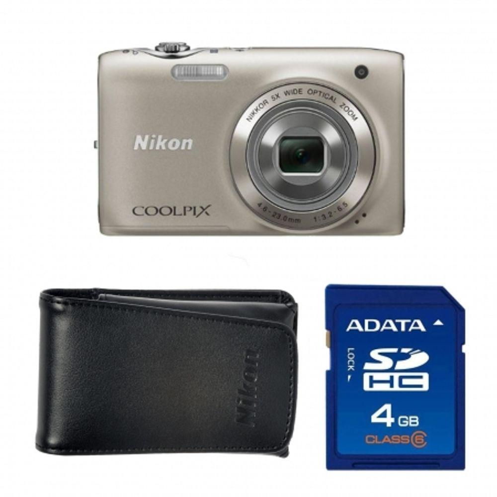nikon-coolpix-s3100-silver-card-sd-4gb-geanta-nikon-seria-s-18145