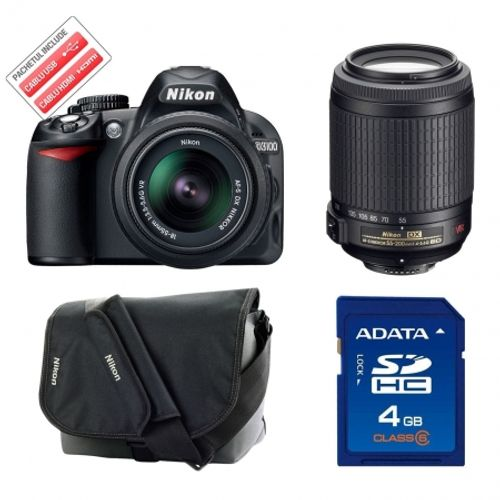 nikon-d3100-nikon-18-55mm-vr-nikon-55-200mm-vr-dzk-card-sd-a-data-4gb-class-6-geanta-nikon-cf-eu05-18254