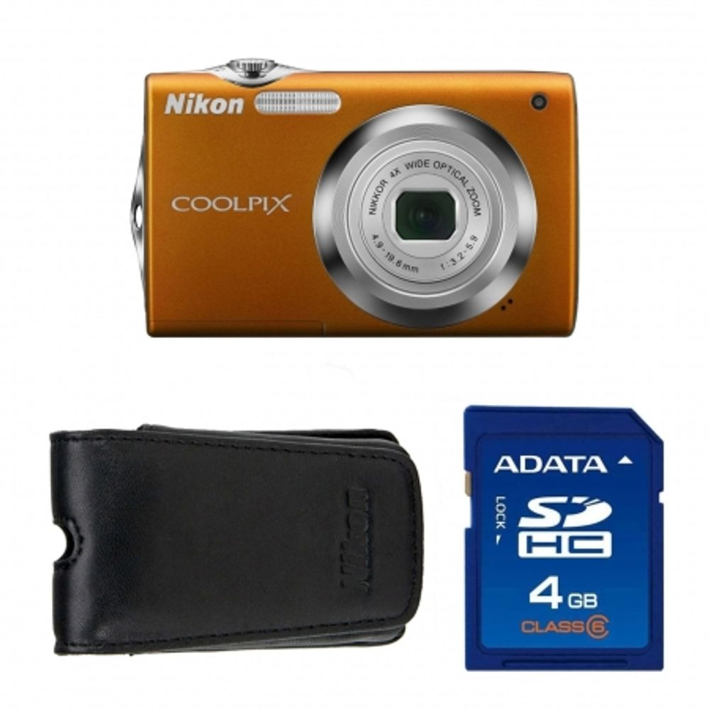 nikon-coolpix-s3000-orange-sd-4gb-geanta-nikon-seria-s-18327