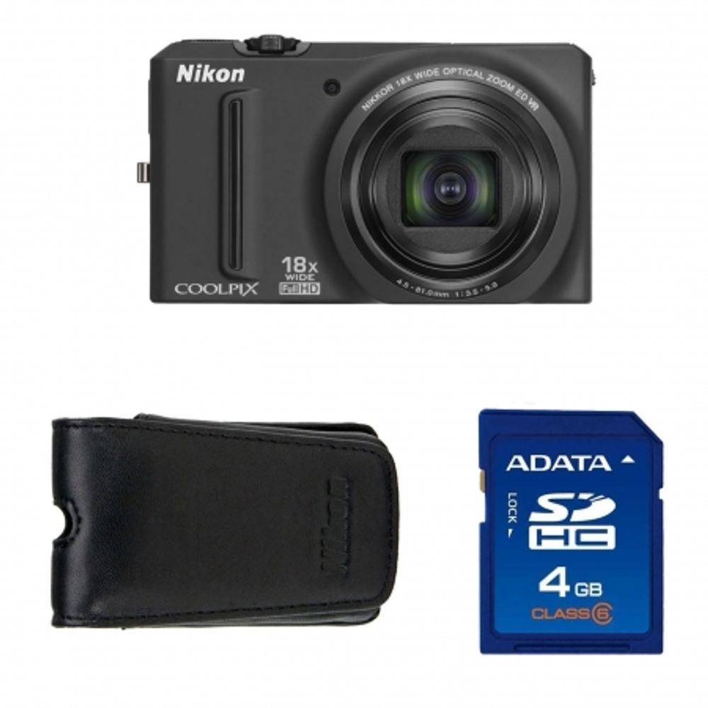 nikon-coolpix-s9100-black-husa-nikon-alm230103-card-sd-4gb-sandisk-std-18992