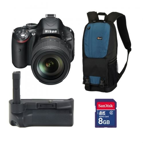 nikon-d5100-kit-18-105mm-vr-rucsac-lowepro-fastpack-100-artic-blue-card-sd-8gb-sandisk-std-grip-replace-powergrip-19414