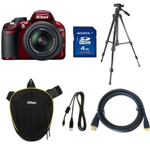 nikon-d3100-rosu-kit-18-55mm-vr-trepied-slik-f630-toc-nikon-toploader-crumpler-sdhc-4gb-a-data-class4-cablu-nikon-minihdmi-2-5m-cablu-usb-20968