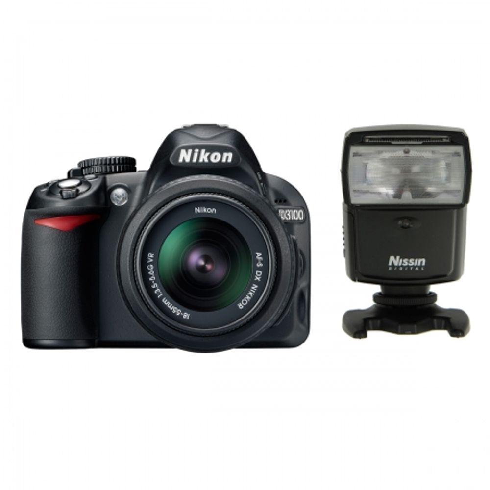 nikon-d3100-kit-18-55mm-vr-af-s-dx-blitz-nissin-466-cabluri-21636
