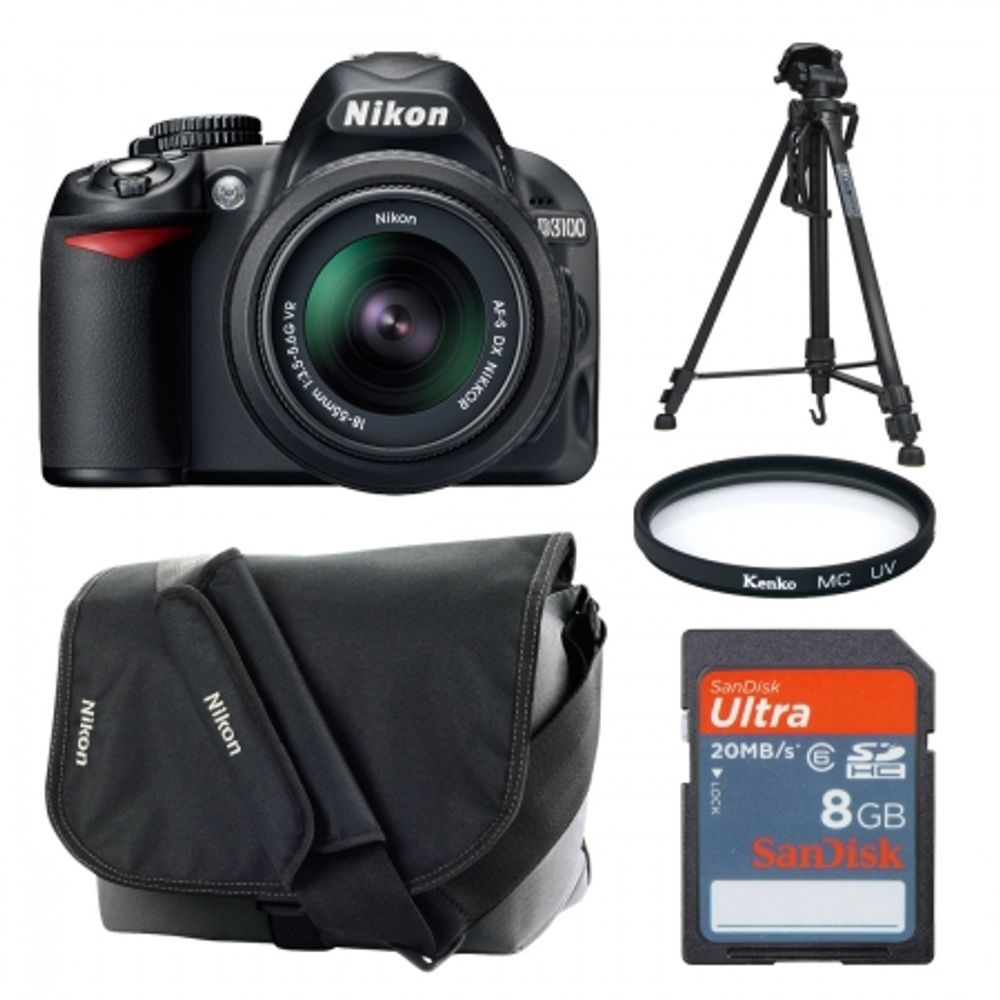 nikon-d3100-negru-kit-18-55mm-vr-geanta-trepied-card-sd-8gb-filtru-uv-52mm-cabluri-hdmi-si-usb-22040