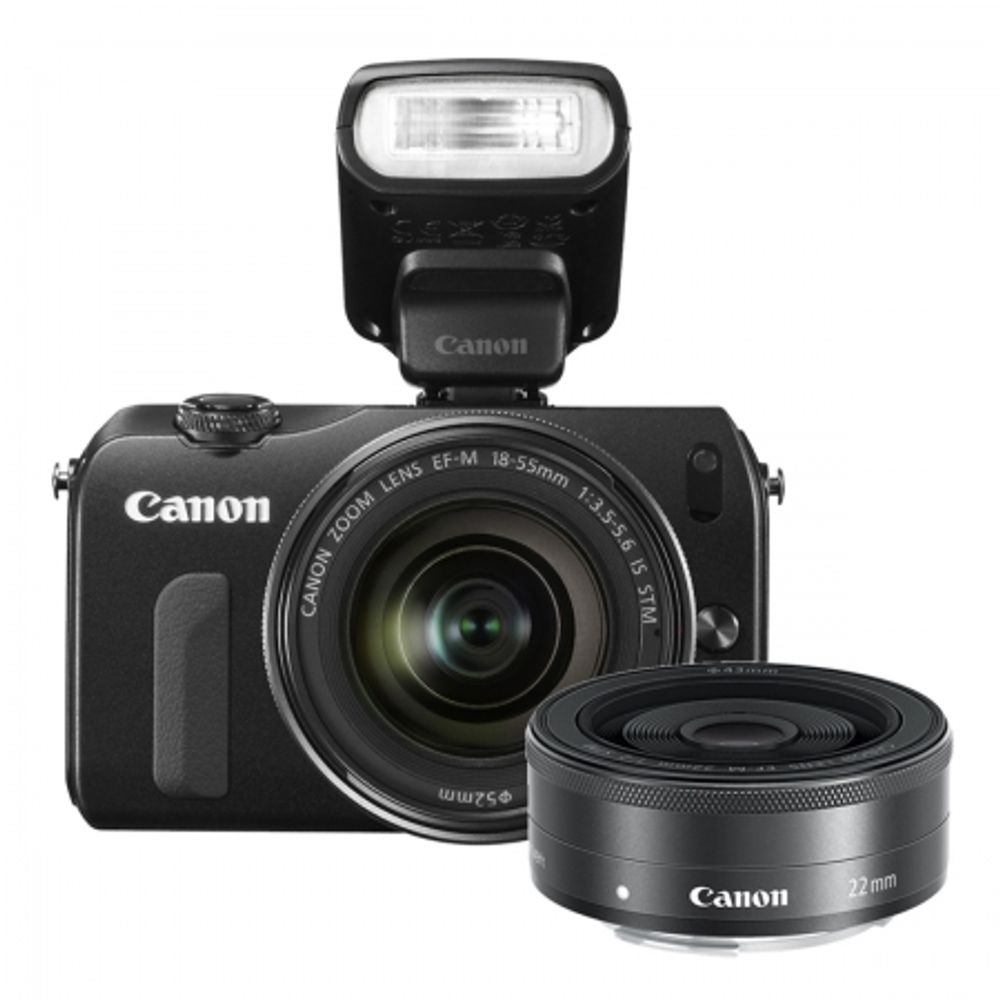canon-eos-m-18-55mm-is-stm-22mm-blit-90ex-negru-23837