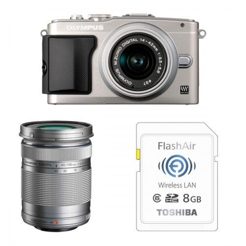 olympus-e-pl5-argintiu-ez-m1442-ii-r-silver-ez-m4015-r-bonus-card-wireless-8gb-flashair-23970