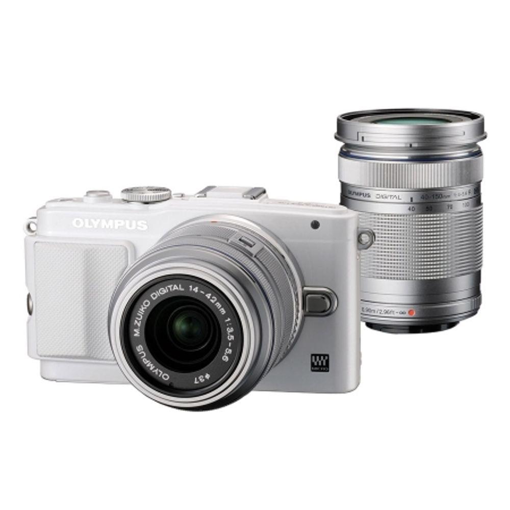 olympus-e-pl6-alb-kit-cu-14-42mm-ii-r-argintiu-si-40-150mm-r-argintiu-41122-900