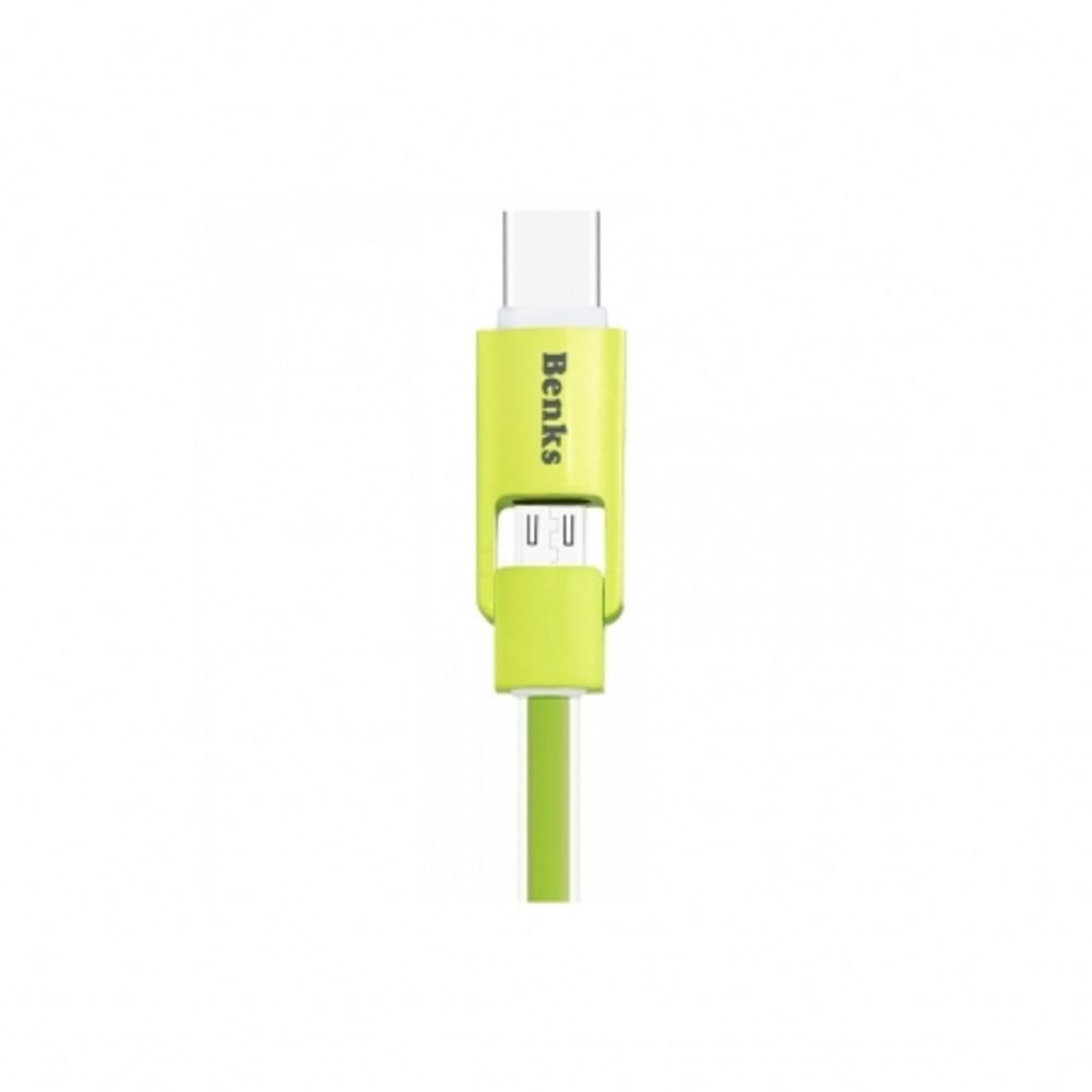 benks-cablu-2-in1-microusb-usb-c--1m-verde--60803-458