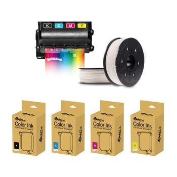 XYZprinting-Kit-Color-Starter-Ink-YMCK-40ml-si-5-Filamente-Color-PLA-600g-White