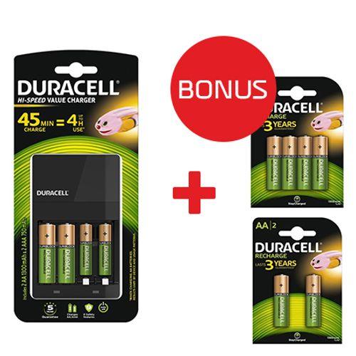 Duracell-incarcator-CEF14---Duracell-acumulatori-AAK42---AAAK2-1300mAh---Bonus-Duracell-acumulatori-AAK2-1300mAh