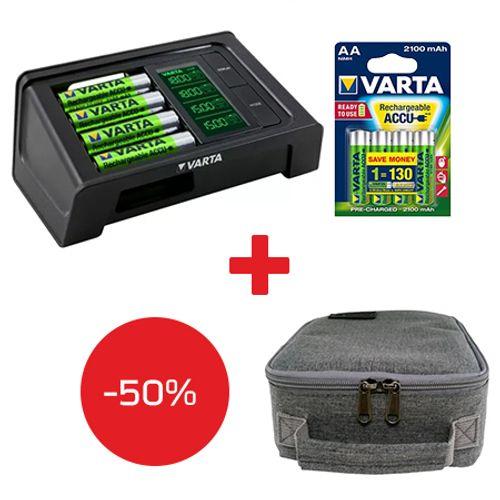 Varta-Incarcator-Smart-cu-LCD-57674---4-Acumulator-AA-R6-2100-mAh---Maha-MHS-CC250-Geanta-de-transport-acumulatori-AA-AAA