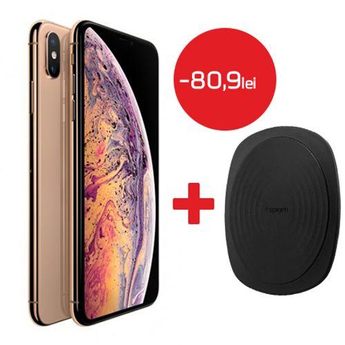 Apple-Iphone-Xs-Max-256GB-auriu---Spigen-Incarcator-Universal-Inductie-Waterproof-Negru