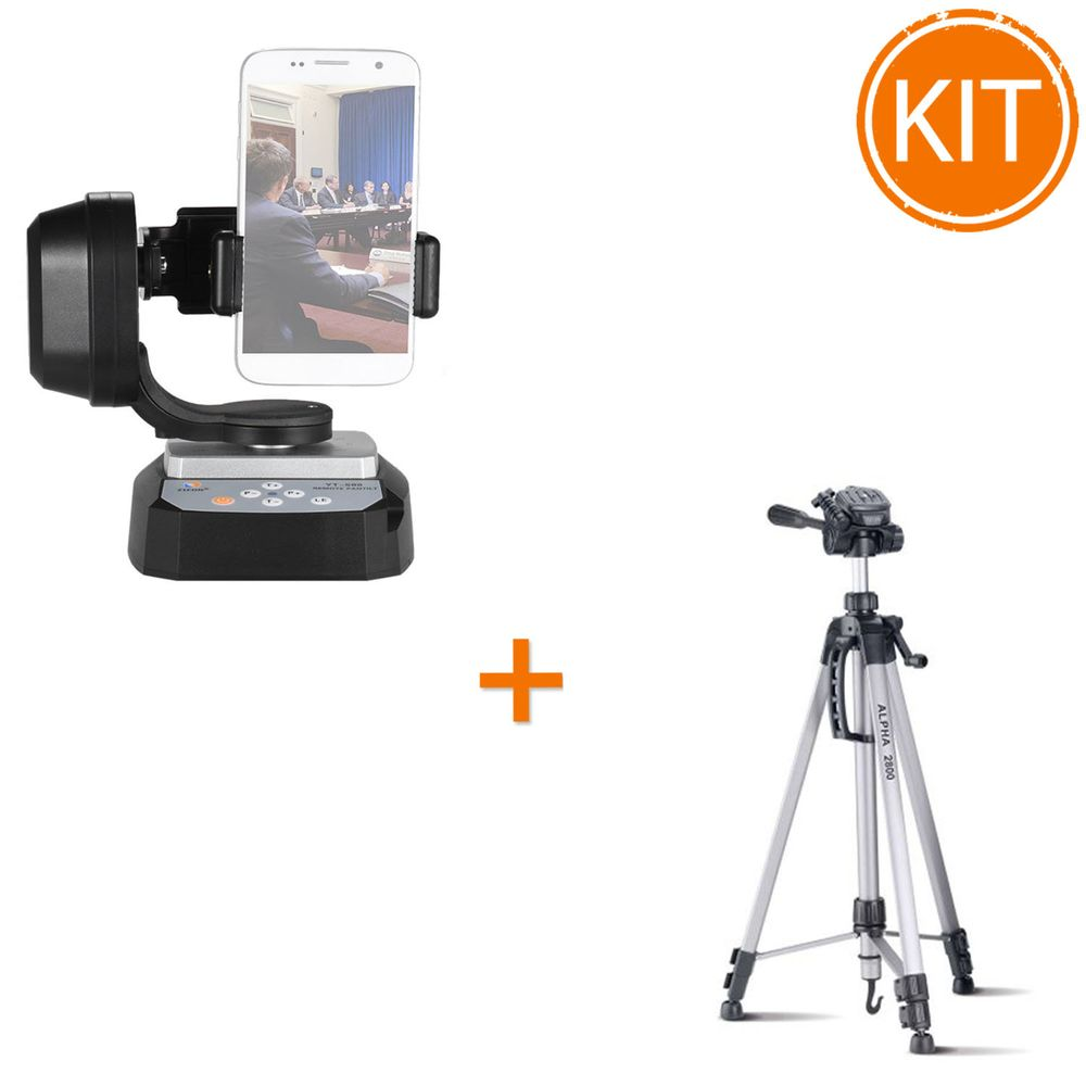 Kit-studio-vlogging-cu-suport-mobil-si-trepied