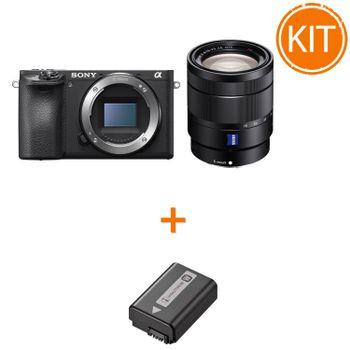Kit-Sony-A6500-Aparat-Foto-Mirrorless-cu-Obiectiv-Carl-Zeiss-Vario-Tessar-E-16-70mm-F4---Sony-NP-FW50