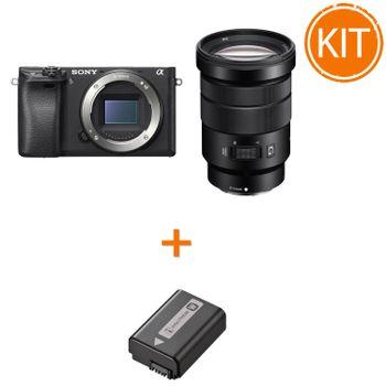 Kit-Sony-A6300-Aparat-Foto-Mirrorless-24MP-cu-Obiectiv-18-105-F4---Sony-NP-FW50-Acumulator-Original