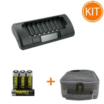 Kit-Maha-Incarcator--MH-C800S---8-acumulatori-Powerex-PRO-de-2700mAh---geanta-transport
