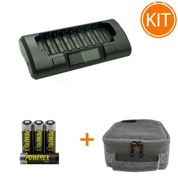 Kit-Maha-Incarcator--MH-C801D---8-acumulatori-Powerex-PRO-de-2700mAh---geanta-transport