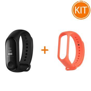 Kit-Bratara-Fitness-Miband-3-Negru---Curea-Silicon-Mi-Band-3-Portocaliu