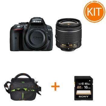 Kit-Nikon-D5300-AF-P-18-55mm-VR--Negru---Sony-16GB-SD-SF16U-Bulk---Somita-Geanta-Foto