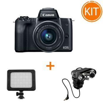 Kit-Canon-EOS-M50-cu-Obiectiv-15-45mm-IS-STM---Microfon-Tascam-TM-2X---Lampa-Kathay-C18