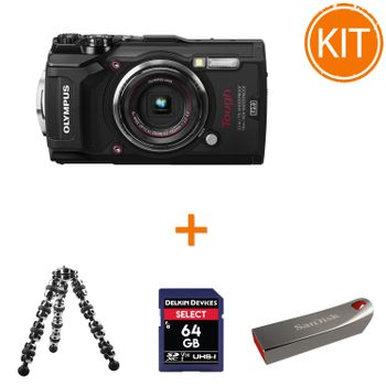 Kit-Olympus-TG-5---Card-Delkin-SDXC-64GB---Minitrepied-Flexibil---SanDisk-Cruzer-Force-32GB