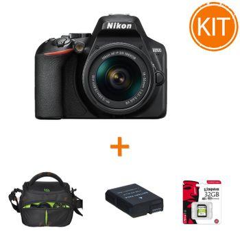 Kit-Nikon-D3500-AF-P-cu-Obiectiv-18-55mm--VR-Negru---Card-32gb---Geanta-Foto---Acumulator-Rezerva-Power3000-950mAh