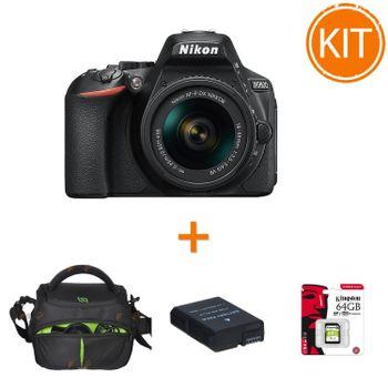 Kit-Nikon-D5600-cu-Obiectiv-AF-P-18-55mm-VR-Negru----Card-64GB---Geanta-Foto---Acumulator-Rezerva-Power3000-950mAh