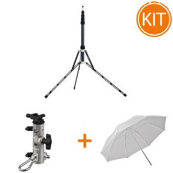 Kit-Strobist-Phottix-PRO---Stativ-Carbon-Phottix-Padat-198cm---Menghina-Pro-Varos-S---Umbrela-difuzie-84cm