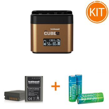 Kit-Hahnel-Pro-Cube-2-Incarcator-pentru-Olympus---Acumulator-Dedicat-tip-BLN-1--Set-4-Acumulatori-AAA-2500mAh