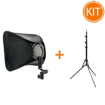 Kit-Strobist-Softbox-Portabil-KESBK-4040---Stativ-Pliabil-210cm