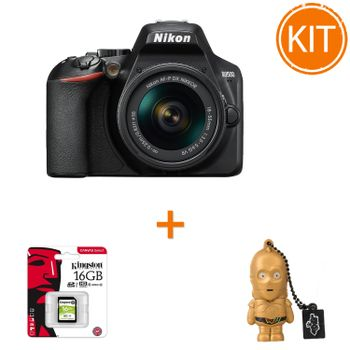 Kit-Nikon-D3500-AF-P-cu-Obiectiv-18-55mm-VR-Negru---Card-de-Memorie-Kingston-16GB---Stick-USB-Memorie-16gb-Star-Wars-C-3PO