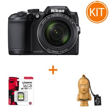 Kit-Nikon-Coolpix-B500-Negru---Card-de-Memorie-Kingston-16GB---Stick-USB-Memorie-16gb-Star-Wars-C-3PO