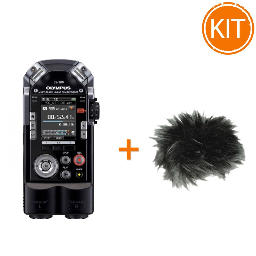 Kit-Olympus-reportofon-LS-100-Standard-Edition---protectie-de-vant-Olympus-WJ4