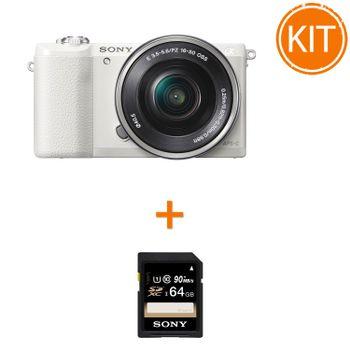 Kit-Sony-A5100-cu-Obiectiv-16-50mm--Alb---Card-de-Memorie-Sony-SDXC-64GB