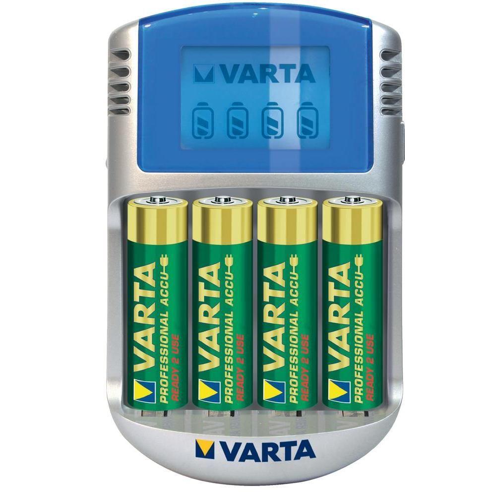 Varta-Incarcator-cu-LCD-57070-cu-4-Acumulatori-AA-R6-Adaptor-Masina-12V-Cablu-USB