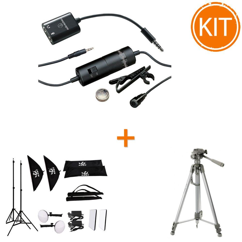 Kit-vlogging---Kast-CY-150-Set-Lampi-LED-30W---Microfon-lavaliera-omnidirectional-Audio-Tehnica---Fancier-WT-3540