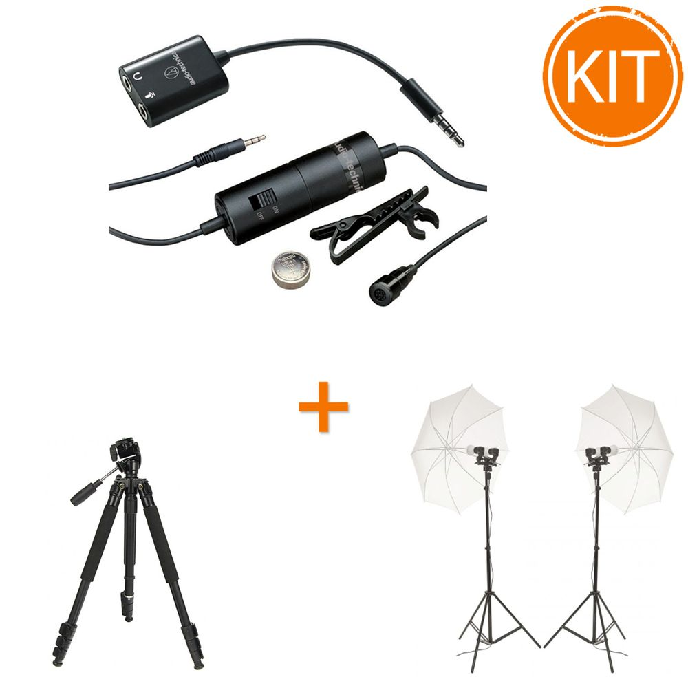 Kit-vlogging-Tutorial--Audio-Technica-ATR3350iS---Microfon-lavaliera-omnidirectional---Fancier-WF3642---Hakutatz-LED-003-lumini-LED-duble-cu-umbrele-si-stative