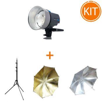 Kit-Blit-Elinchrom-D-Lite-RX-ONE-100W---Set-2-Umbrele-Argintiu-si-Auriu---Stativ-2