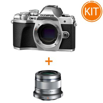 Kit-Olympus-OM-D-E-M10-Mark-III-Body-Argintiu---Olympus-45mm-F1