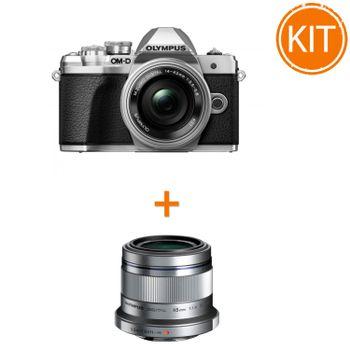 Kit-Olympus-OM-D-E-M10-Mark-III-cu-Obiectiv-Pancake-14-42mm-Argintiu---Olympus-45mm-F1