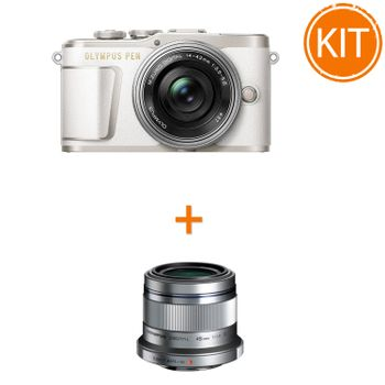 Kit-Olympus-E-PL9-cu-Obiectiv-Pancake-14-42mm-F3.5-5.6-Alb--Argintiu----Olympus-45mm-F1