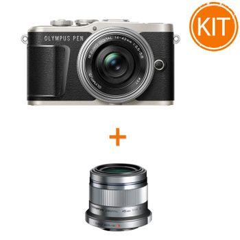 Kit-Olympus-E-PL9-cu-Obiectiv-Pancake-14-42mm-F3.5-5.6-Negru-Argintiu---Olympus-45mm-F1