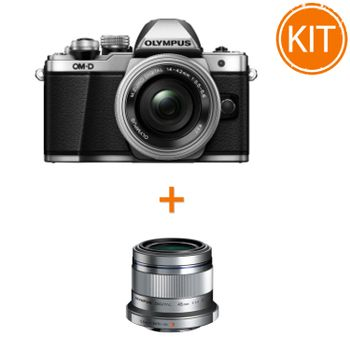 Kit-Olympus-OM-D-E-M10-Mark-II-cu-14-42mm-Pancake-EZ-Argintiu---Olympus-45mm-F1