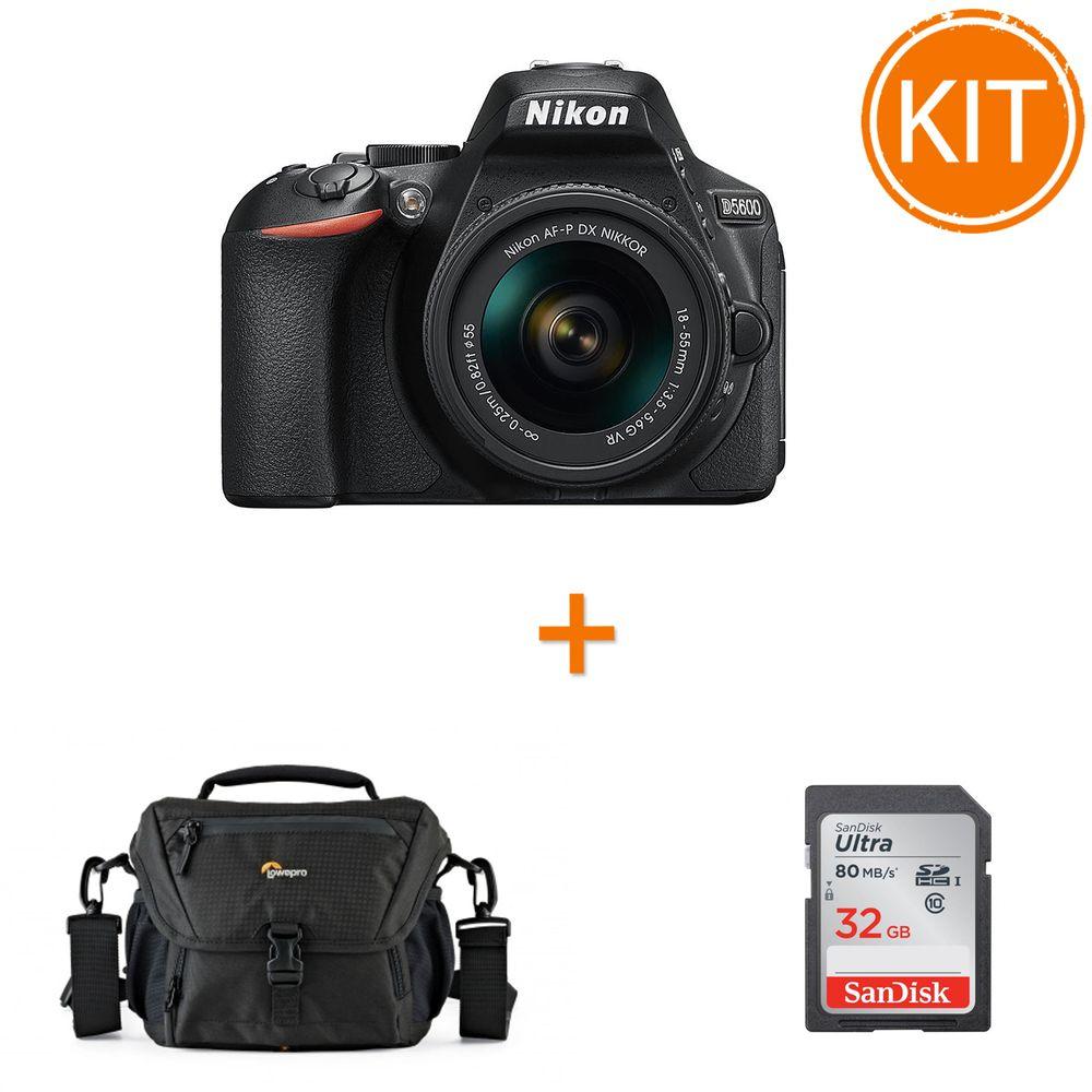 Kit-Nikon-D5600--Kit-AF-P-18-55mm-VR-Negru---card-SDHC-Ultra-32GB-80MB-Sandisk---Geanta-Foto-Lowepro-Nova-160-AW-II