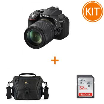 Kit-Nikon-D5300--Kit-cu-Obiectiv-18-105mm-VR-AF-s-DX-Negru----card-SDHC-Ultra-32GB-80MB-Sandisk---Geanta-Foto-Lowepro-Nova-160-AW-II