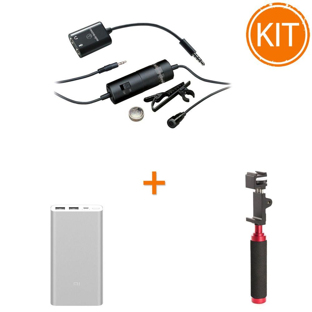 Kit-Vlogging-Reporter-Mobil-cu-Microfon-lavaliera---Suport-telefon---Acumulator-extern