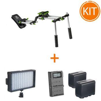 Kit-Profesional-Video-Eveniment-cu-Suport-de-Umar----Lampa-LED-Bicolor---2-Acumulatori-Lampa---Incarcator-Acumulatori