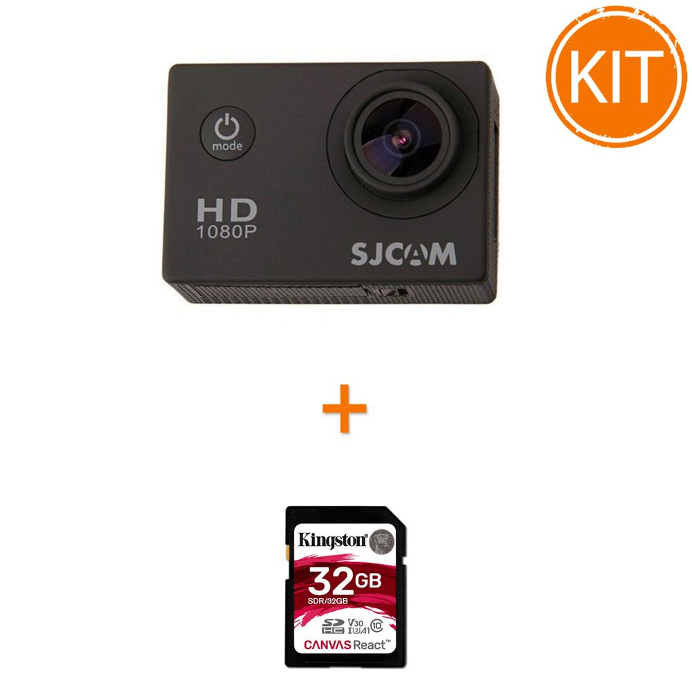 Kit-SJCAM-SJ4000---Full-HD-1080p-12MP---Kingston-32GB-SDHC-Canvas-React