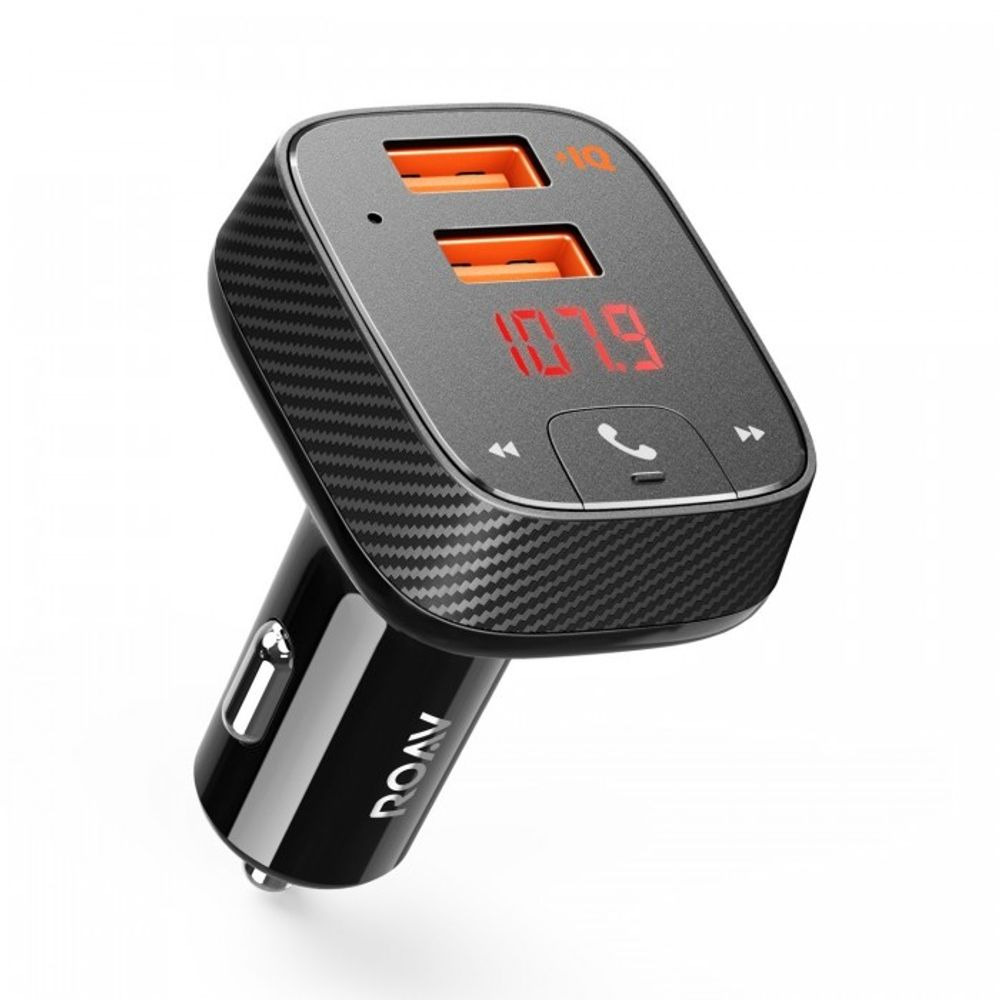 Roav-Incarcator-auto-SmartCharge-F2-dual-USB-FM---Bluetooth-Carkit-AUX-Negru